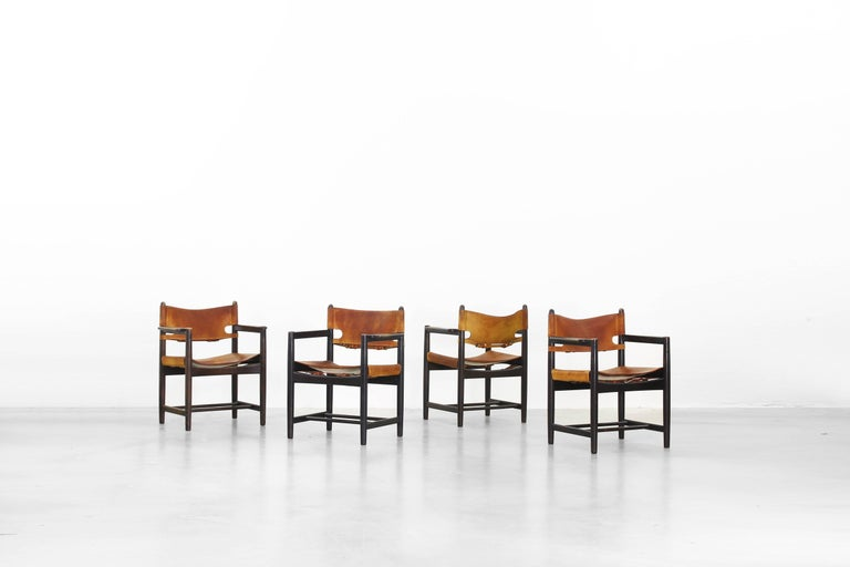 A beautiful set of four dining chairs designed by Børge Mogensen for Fredericia in the 1950s.