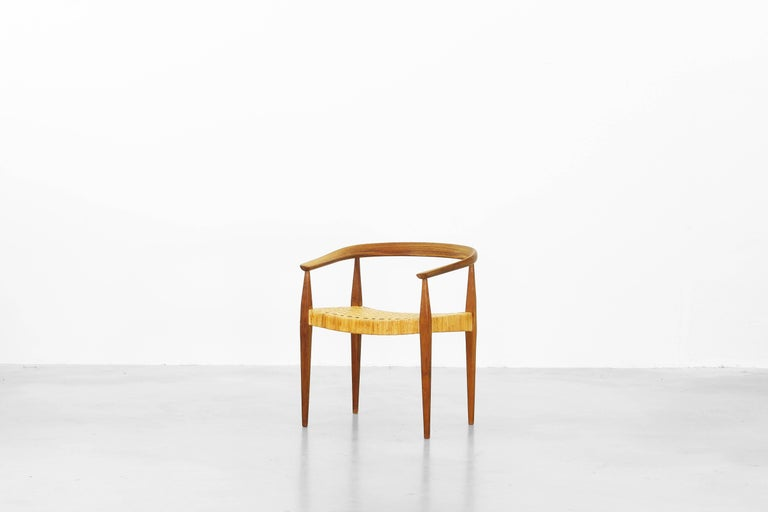 Very beautiful and rare armchair designed by Nanna Ditzel for Kolds Savvaerk, made in Denmark.
