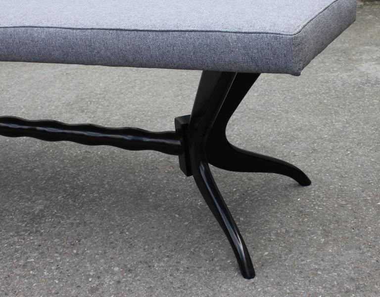Pair of Black Lacquered Carved Base Benches from 1950s 2