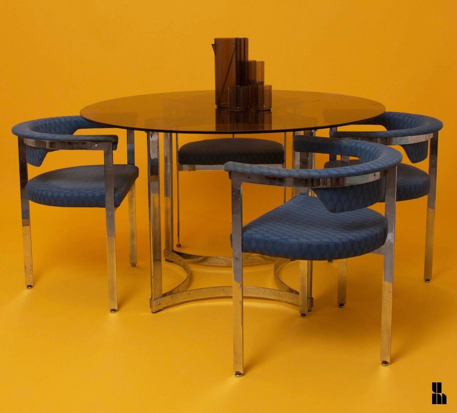 1970s circular table and six armchairs dining set at 1stdibs for 1970 dining room set