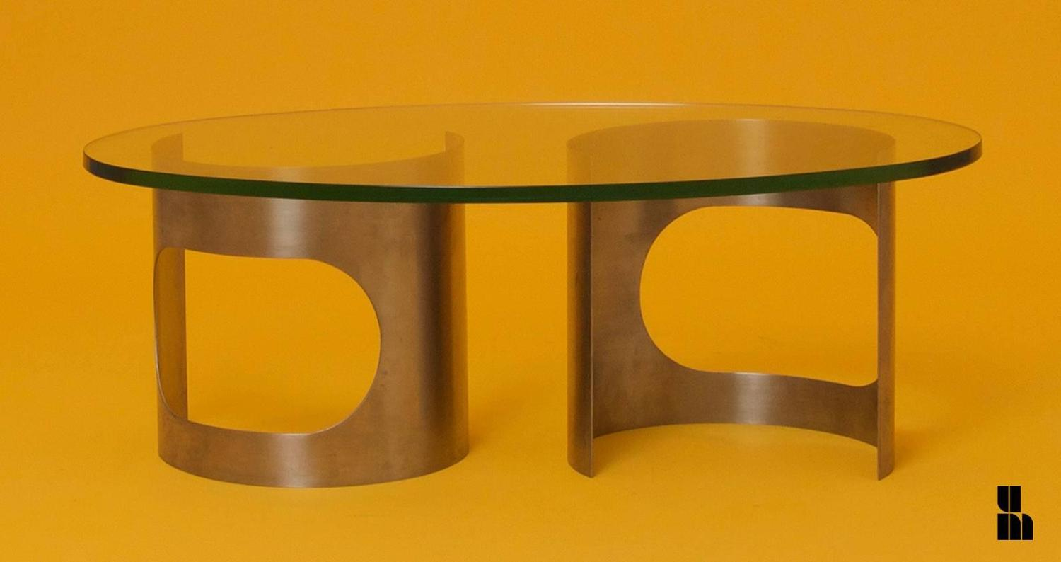 1970s Spheric Stainless Steel And Glass Top Coffee Table For Sale At 1stdibs
