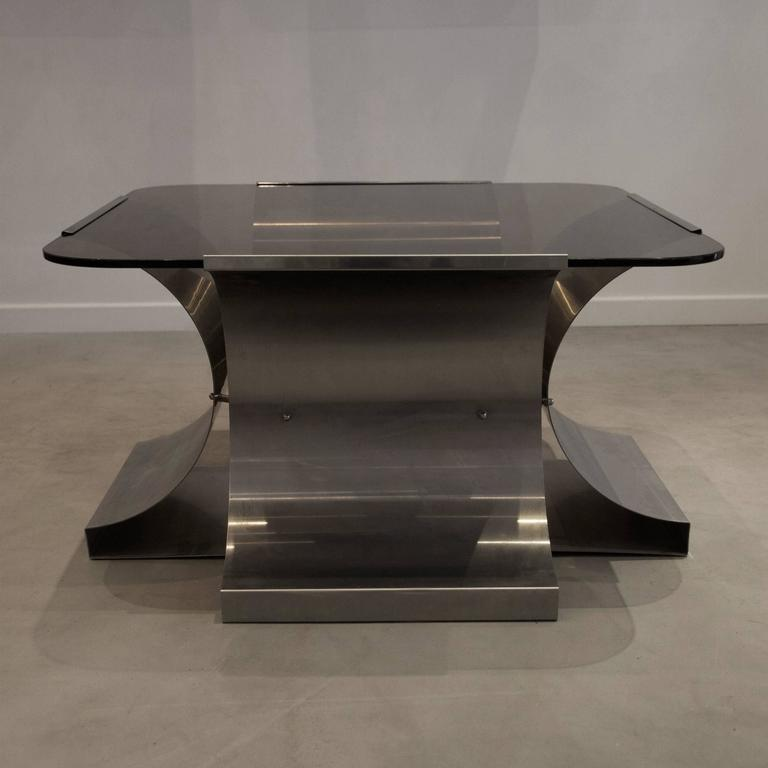 1970s Fran Ois Monnet Kappe Ed Glass And Stainless Steel Coffee Table For Sale At 1stdibs