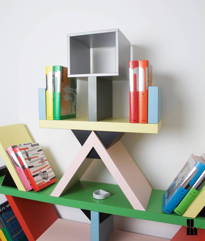 Iconic 'Carlton' bookcase designed by Ettore Sottsass for Memphis Milano in 1981, Old production manufactured circa 1990. Near mint original condition with the original Memphis stamp. Historical museum piece, appears in Moma (New York) collection.
