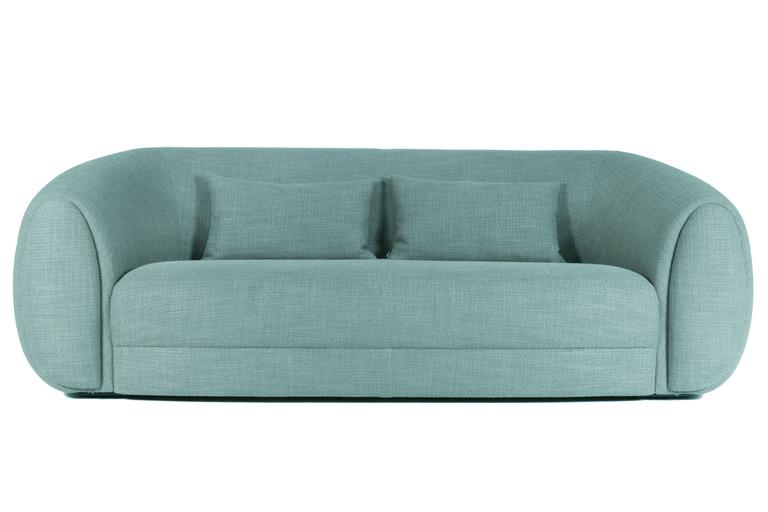Curved Minimalist teal green Lounge from France 3
