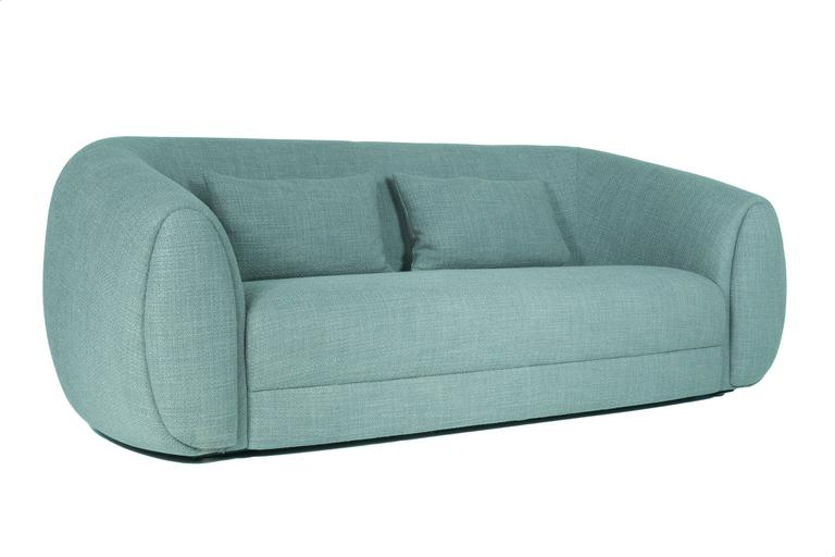 Curved Minimalist teal green Lounge from France 5