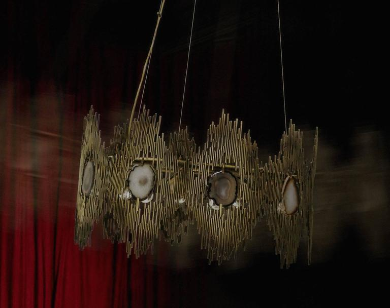European Gold and Agate Stone Vintage Inspired Chandelier by Koket 3