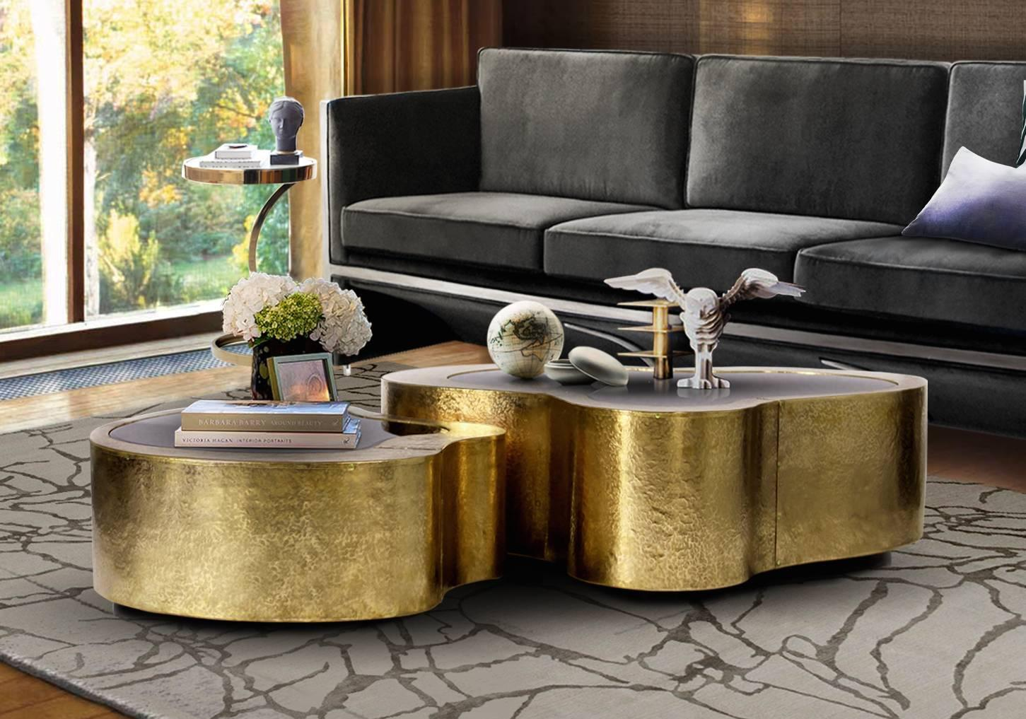 Set Of Two Curvilinear Hammered Brass Glass Coffee Tables