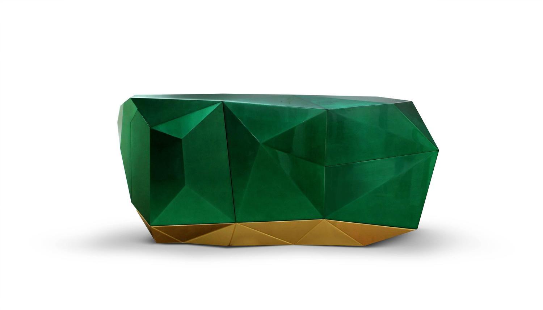 european boca do lobo diamond emerald green and gold leaf sculptural sideboard for sale at 1stdibs. Black Bedroom Furniture Sets. Home Design Ideas