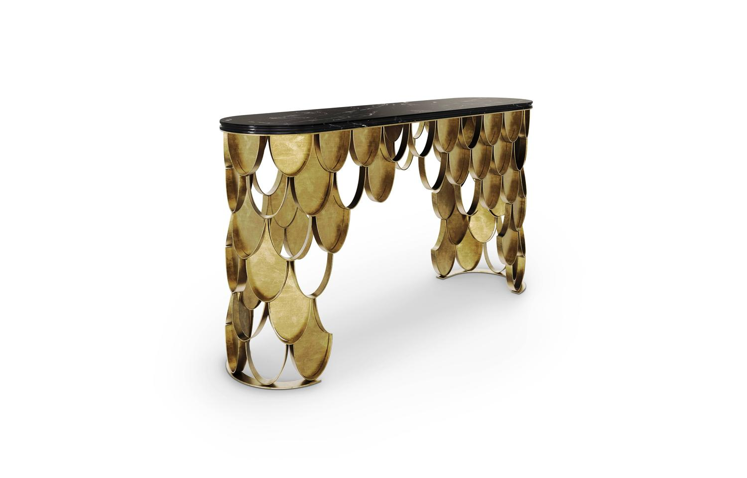 Brushed brass and black marble koi console form europe for for Koi furniture