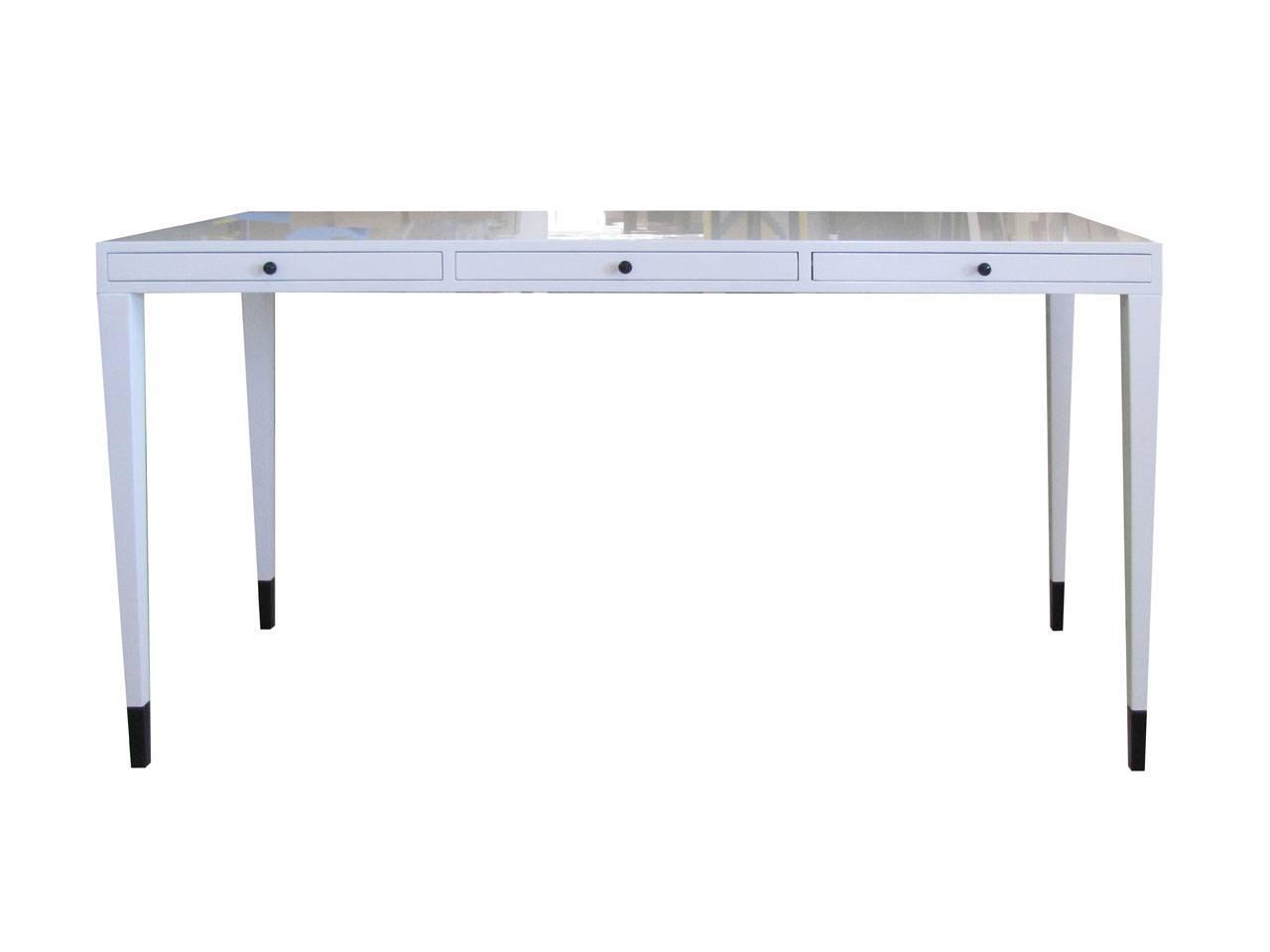 Three-Drawer Victor Wood and Leather Writing Desk by Dom Edizioni from ...