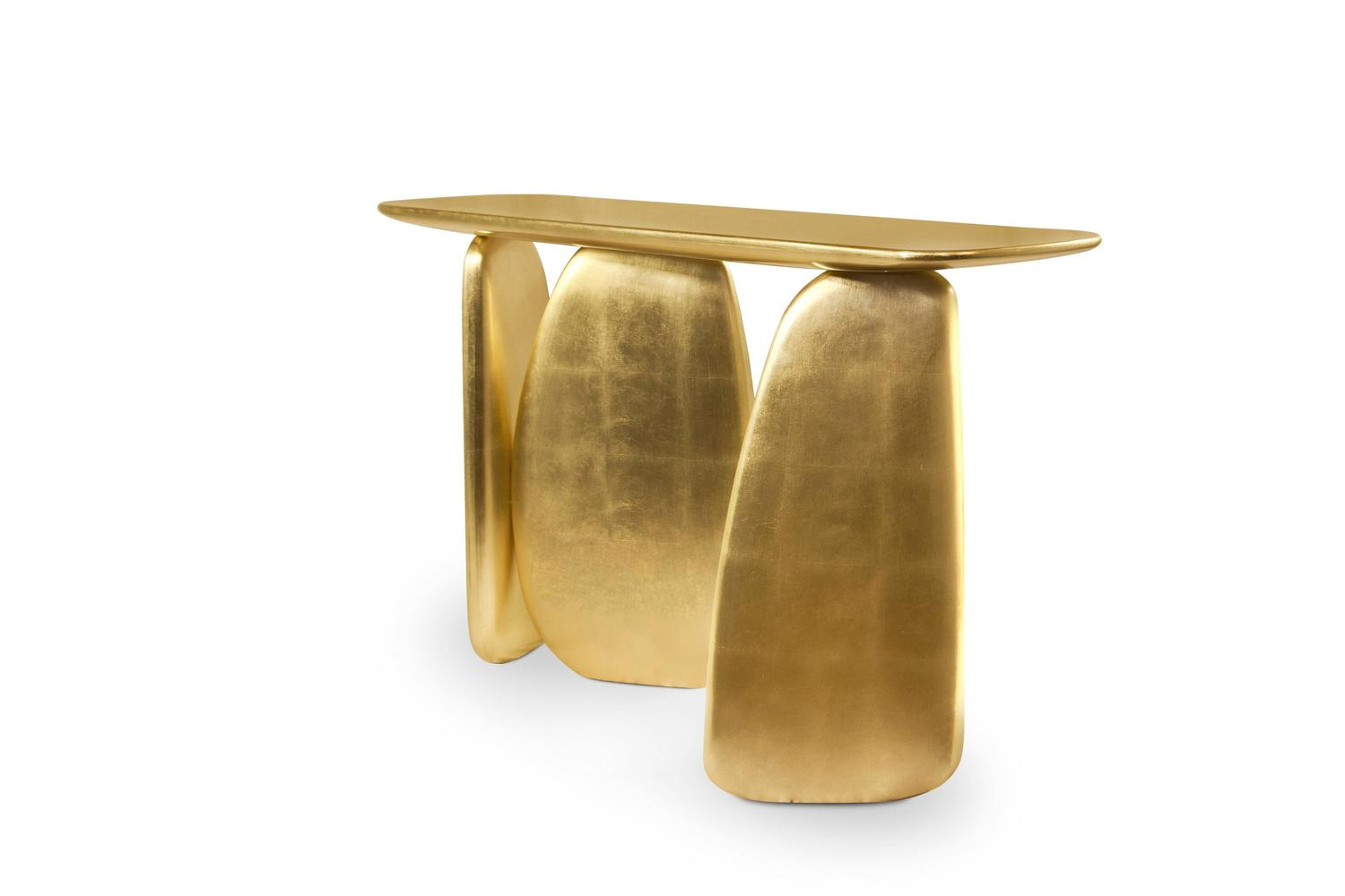 Ardara Gold Leaf Organic Modern Console By Brabbu From Europe For Sale At 1stdibs