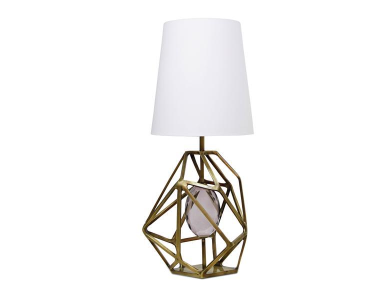 Pair Of European Green Gem Stone, Geometric Brass Table Lamp By Koket 3