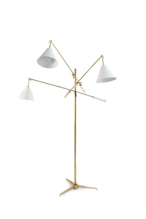 Sinatra Mid-Century Modern Brass, Aluminium Moving Floor Lamp by Delightful 2