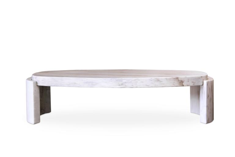 Large European Modern White Marble Tacca Oval Centre Coffee Table By Brabbu  2
