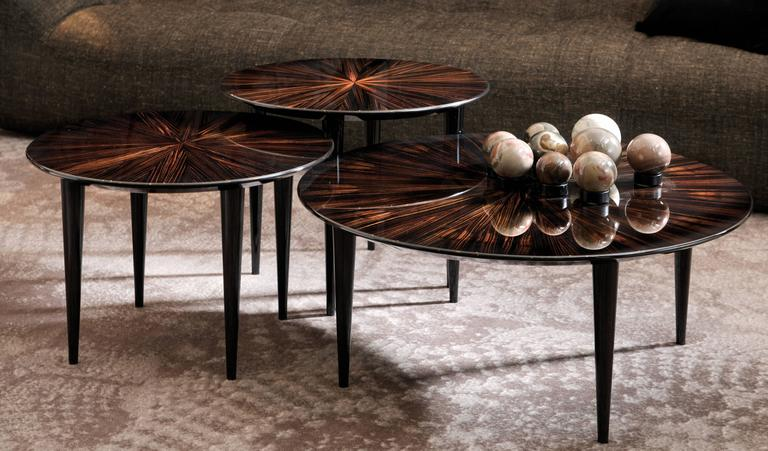 Italian Makassar Ebony Timber Pierrot Small Round Coffee Tables By Dom  Edizioni 2