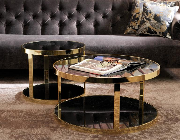 Dom Edizioni Luigi Round Marble Or Glass Metal Coffee Cocktail Or Side Tables For