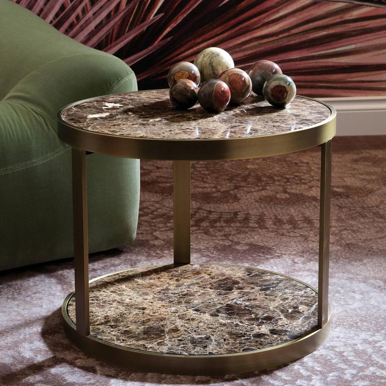 Dom Edizioni Luigi Round Marble Or Glass, Metal Coffee, Cocktail Or Side  Tables 2