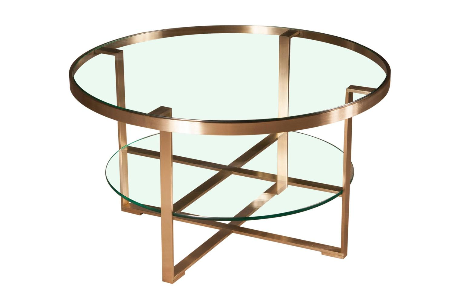 French round coffee cocktail table with brushed brass and for 2 shelf glass coffee table