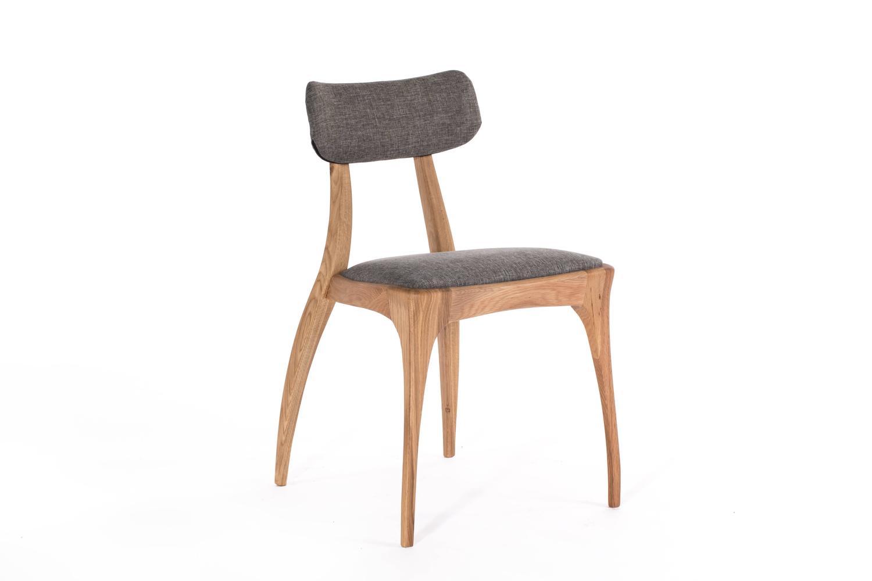 Pair of european modern walnut or oak upholstered dining for Upholstered dining chairs for sale