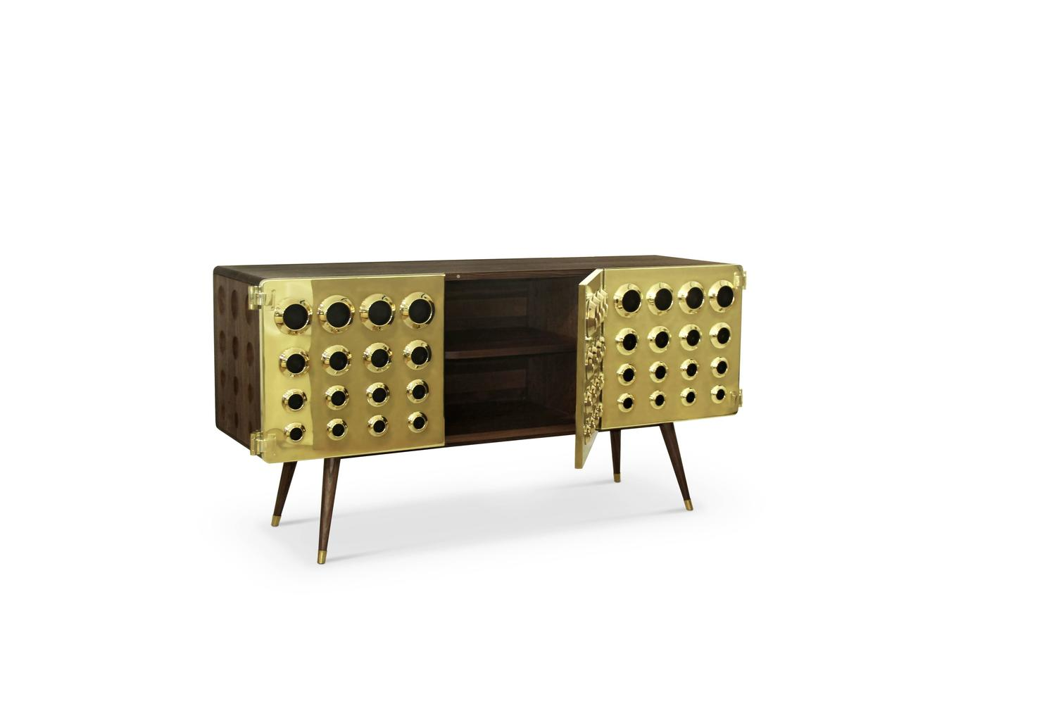 Mid century modern monocles solid walnut wood brass and for Sideboard gold