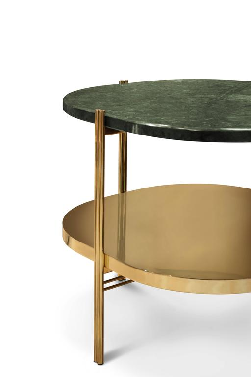 Lovely Mid Century Modern Style European Marble And Brass Two Ledge Round Side  Table 3