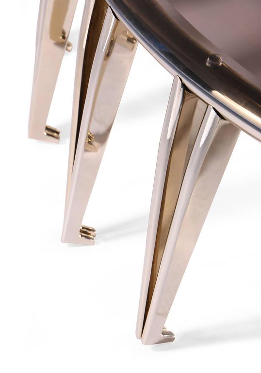 European Mid-Century Modern Style Gold-Plated Brass, Glass Round Center Table 4