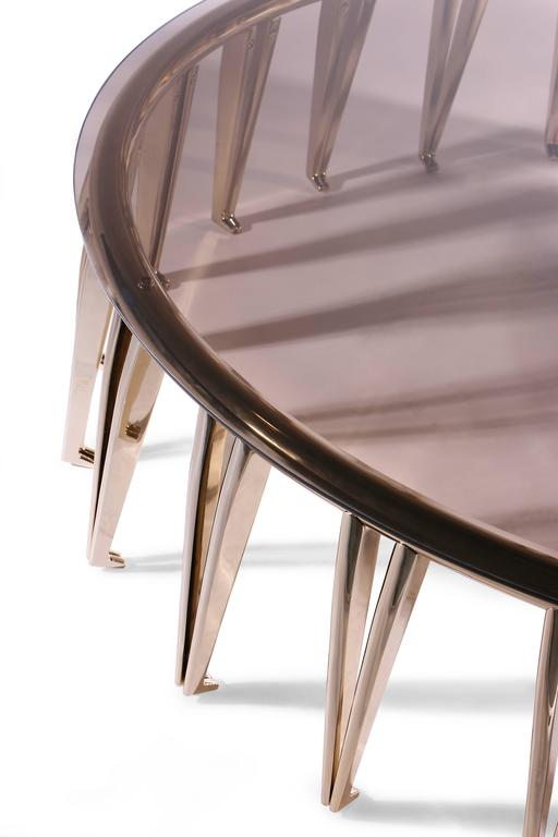 European Mid-Century Modern Style Gold-Plated Brass, Glass Round Center Table 3