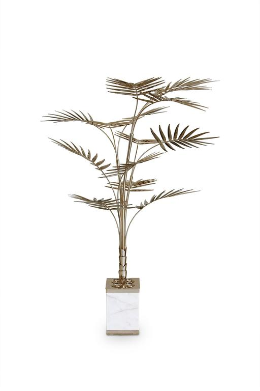 European Ivete Gold, Brass and Marble Palm Tree Floor Lamp or Table Lamp 3