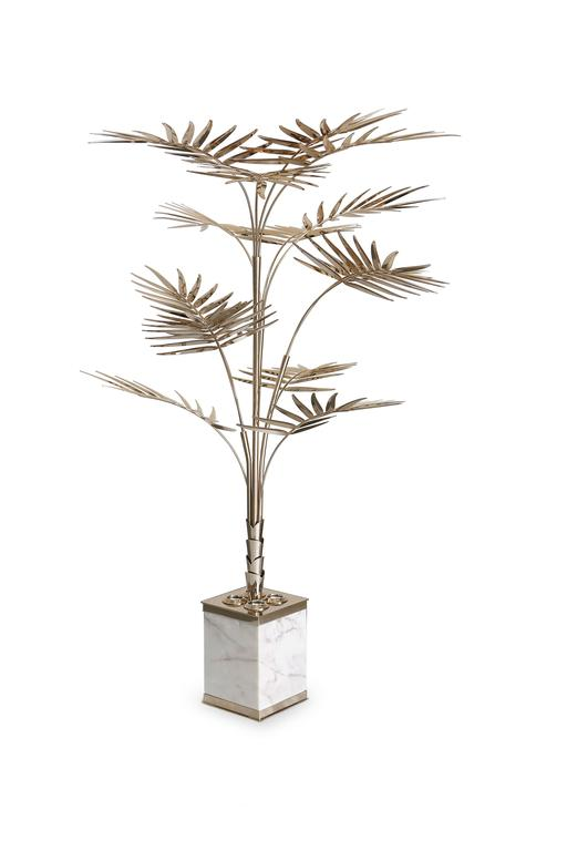 European Ivete Gold, Brass and Marble Palm Tree Floor Lamp or Table Lamp 2