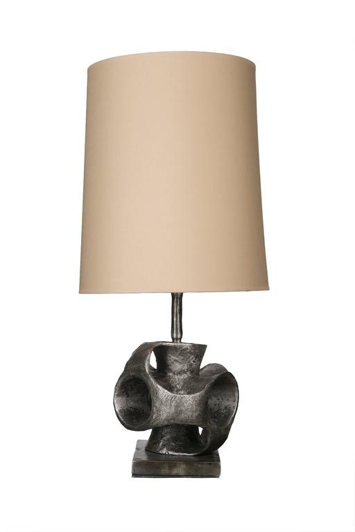 Pair of french modern organic cast aluminium table lamp for Table lamp repairs melbourne