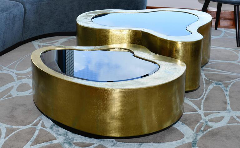 Set Of Two Curvilinear Hammered Brass, Glass Center Coffee Tables From  Europe 3