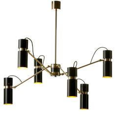 European Modern Black and Gold Lacquer Astaire Six-Arm Chandelier
