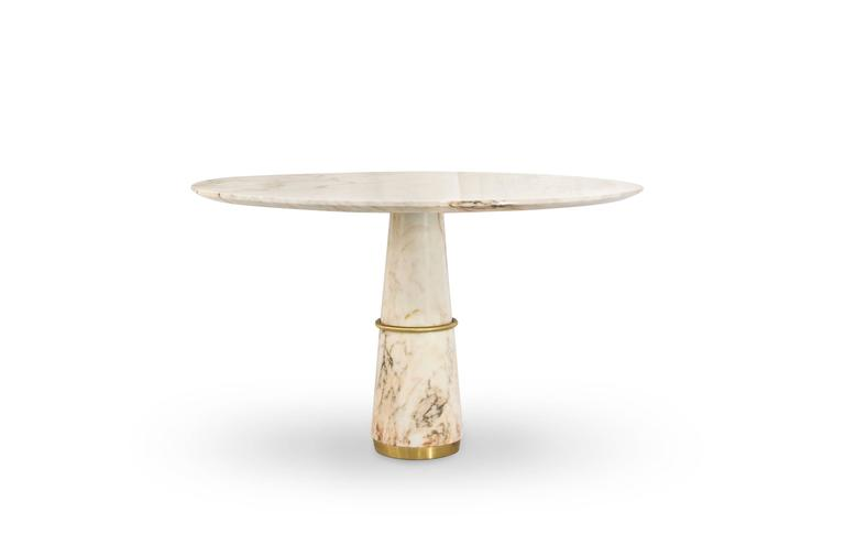 European Modern Agra White Marble And Brass Round Dining Table By Brabbu 2