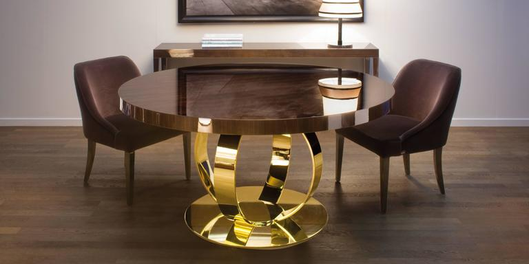 Dom Edizioni Italian Modern Lacquered Wood And Brass Round Andrew Dining  Table 2