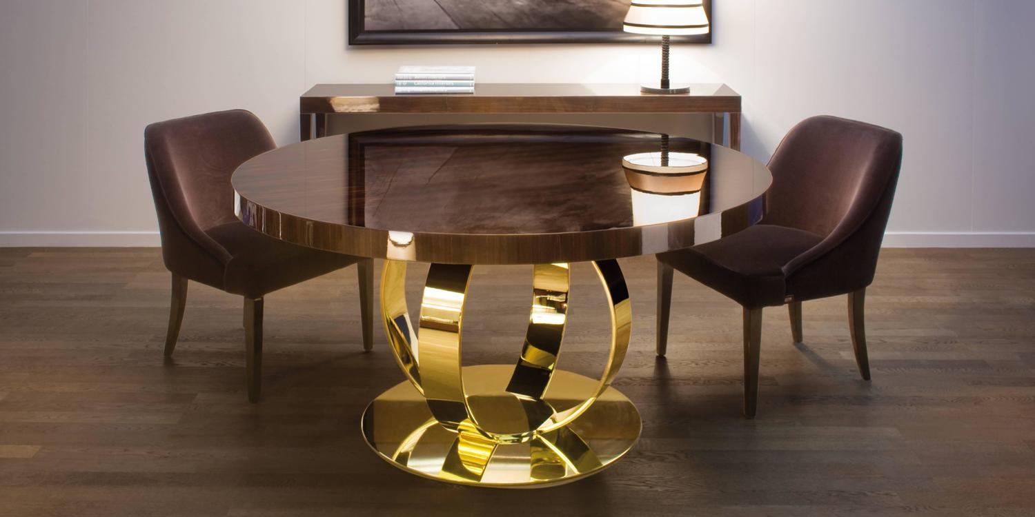 Dom Edizioni Italian Modern Lacquered Wood And Brass Round