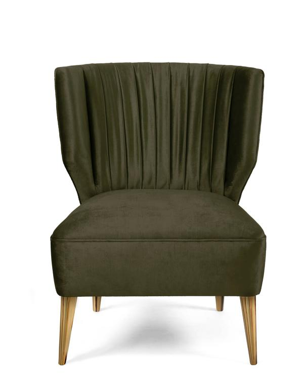 Charming Pair Of Bakairi Satin Velvet Olive Green And Gold Leaf Armchairs By Brabbu  At 1stdibs