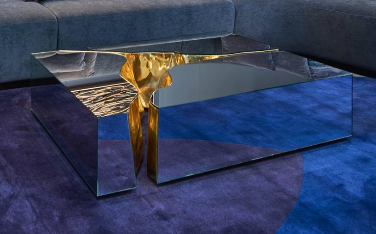 Modern European Mirrored and Brass Lapiaz Coffee Table by Boco Do Lobo 2