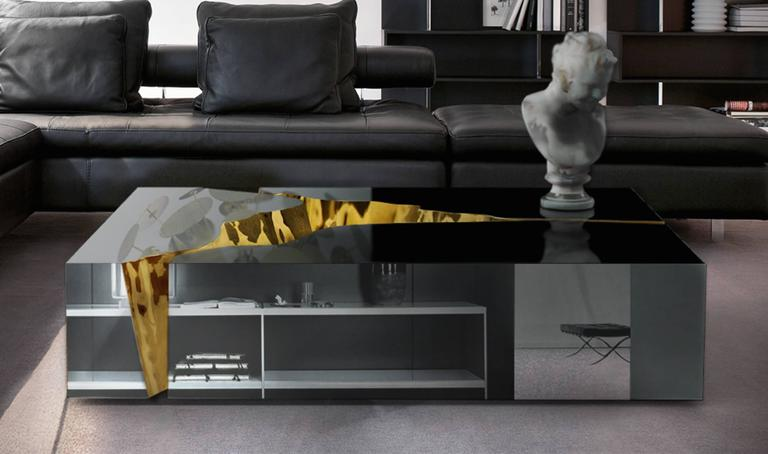 Modern European Mirrored and Brass Lapiaz Coffee Table by Boco Do Lobo 3