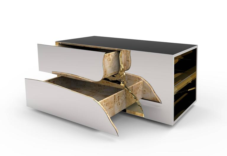 Modern European Mirrored and Brass Lapiaz Coffee Table by Boco Do Lobo 6