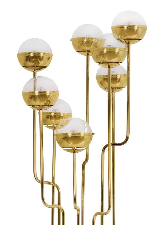 Huge Contemporary Gold Brass And Marble Niku Floor Lamp
