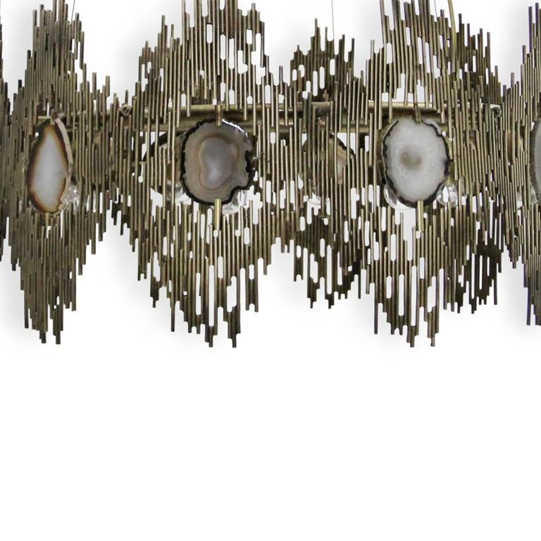 European Gold and Agate Stone Vintage Inspired Chandelier by Koket 2