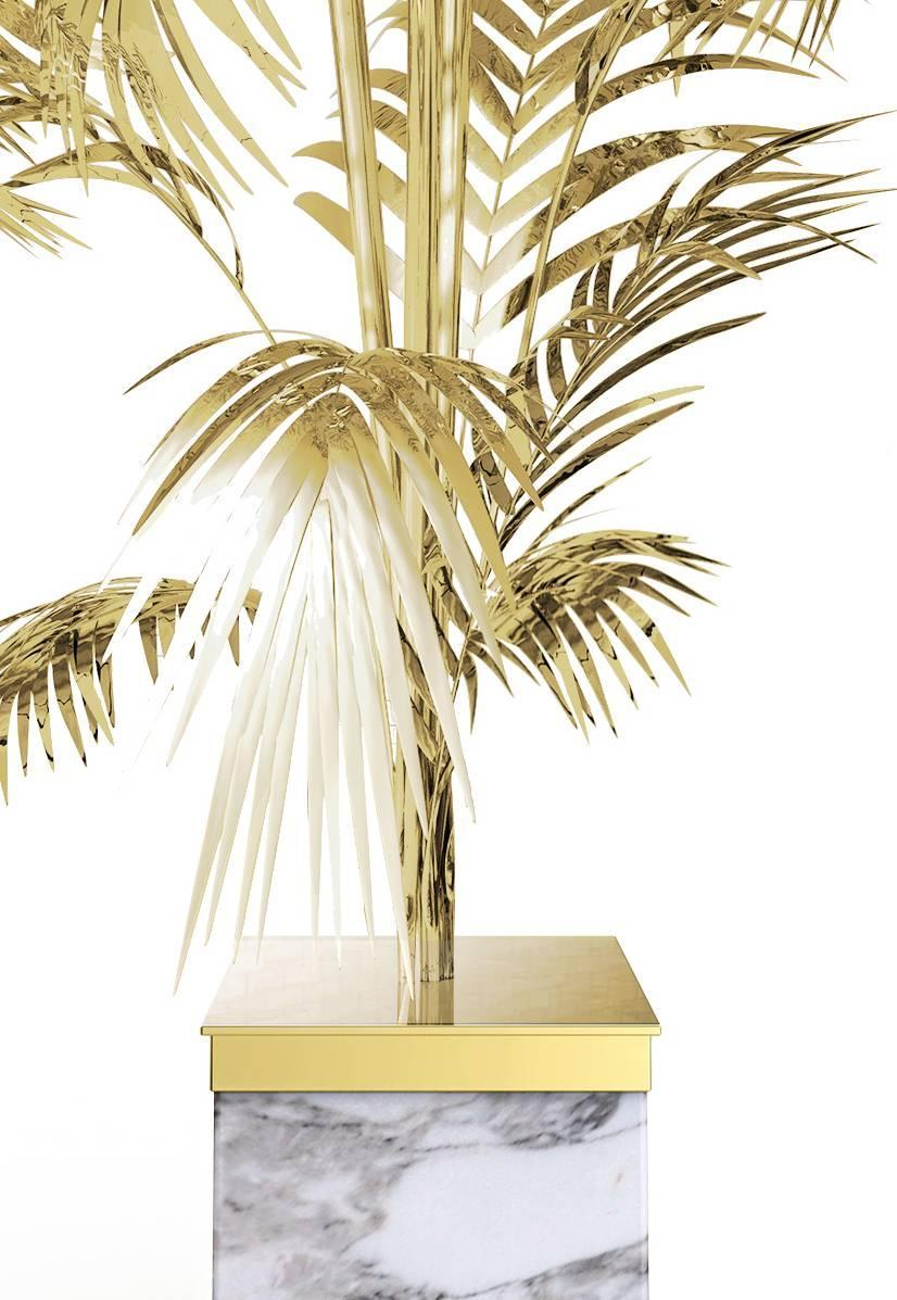 European Ivete Gold Brass And Marble Palm Tree Floor Lamp