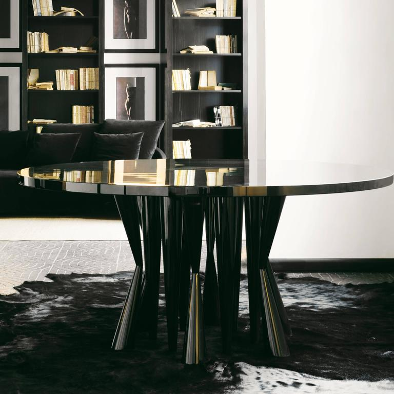 italian modern gloss lacquer timber robin dining table by