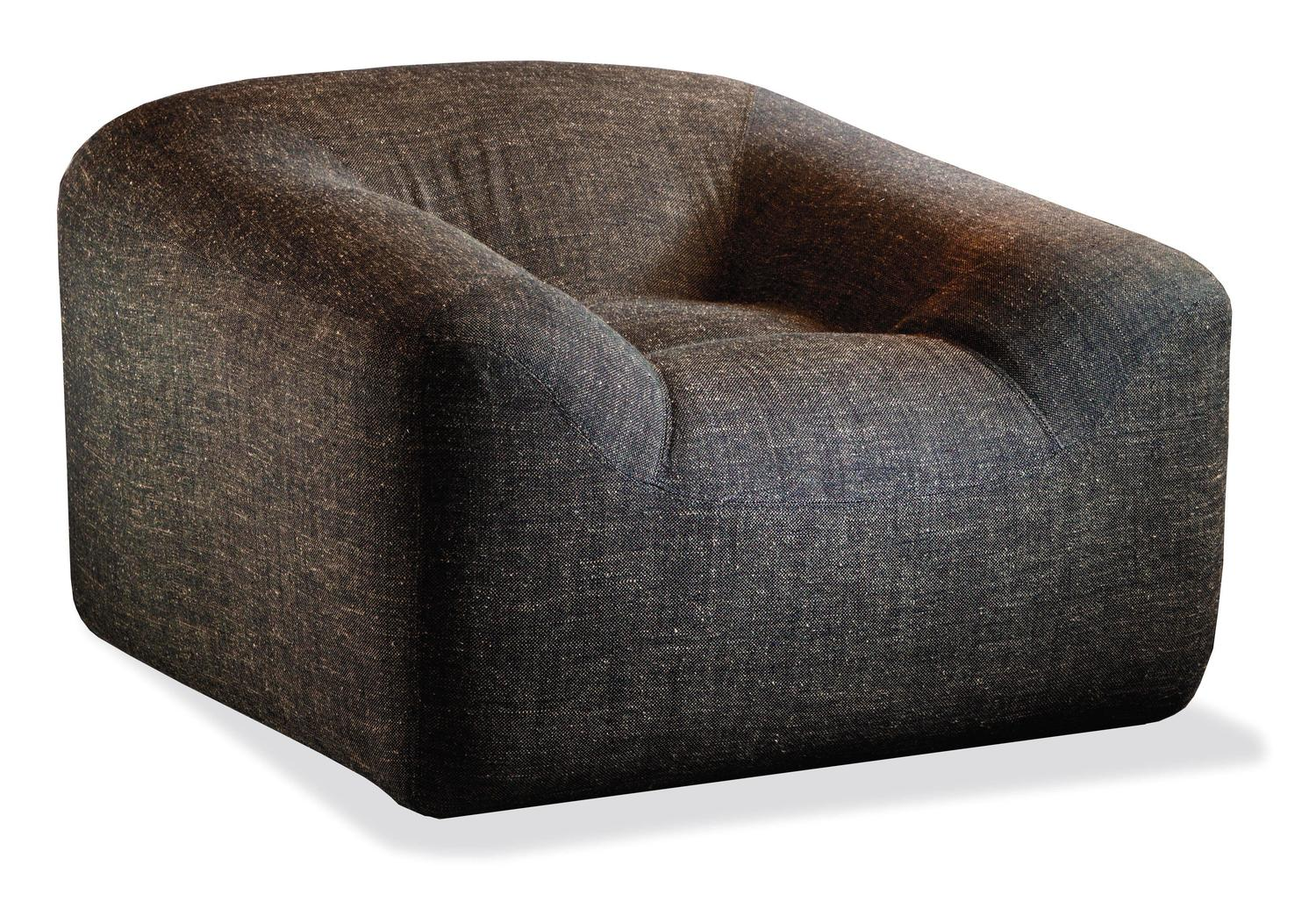 Italian modern maxence small armchair and pouf ottoman by for Small armchair with ottoman