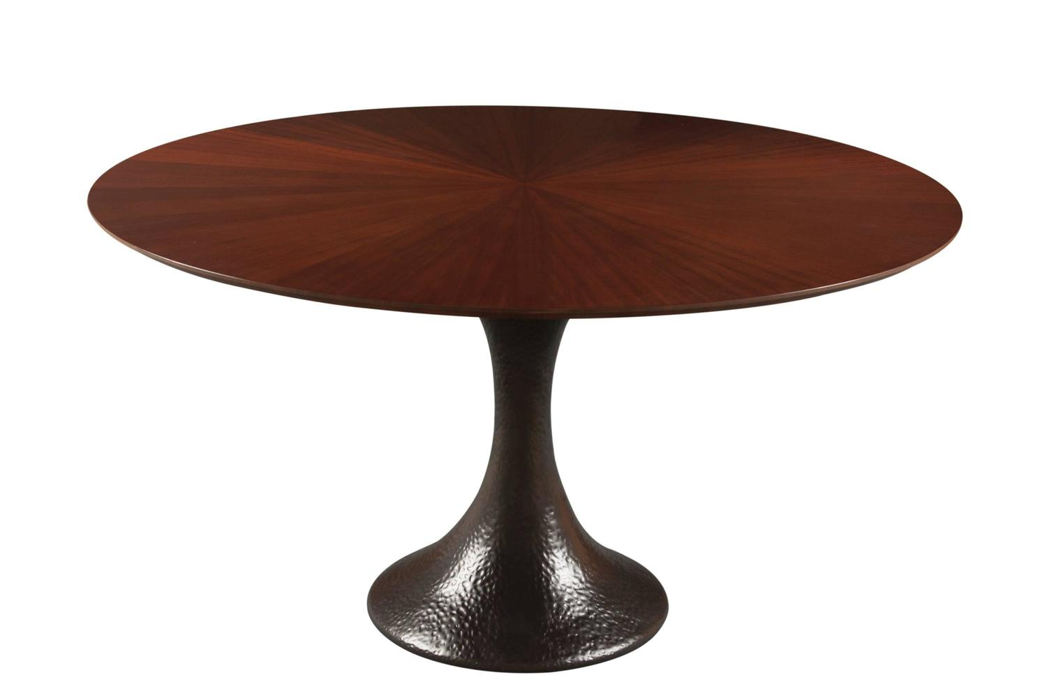 French Modern Oval Round Walnut Timber And Gold Or Color Resin Dining Table