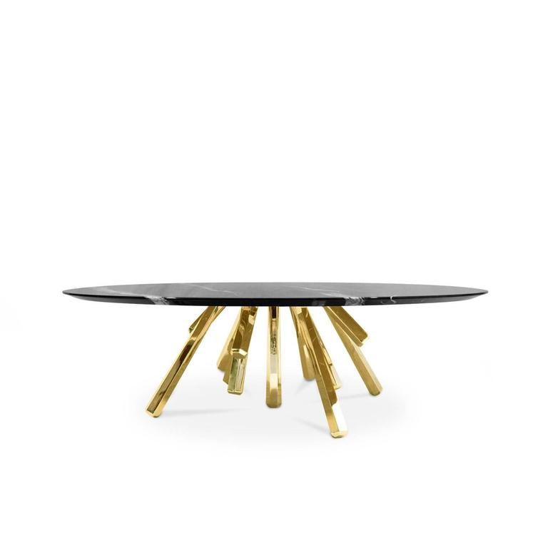 European Modern Brass And Marble Round Amber Center Coffee Table 2