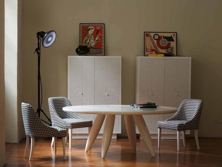 Round Dining Table For 2 Part - 42: Modern Italian Organic Dom Edizioni Lacquered Rectangular Or Round Dining  Table 2