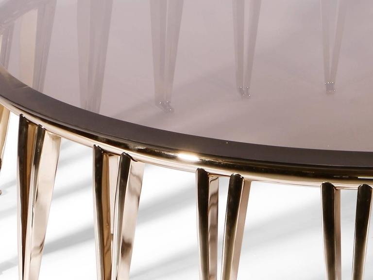 European Mid-Century Modern Style Gold-Plated Brass, Glass Round Center Table 2