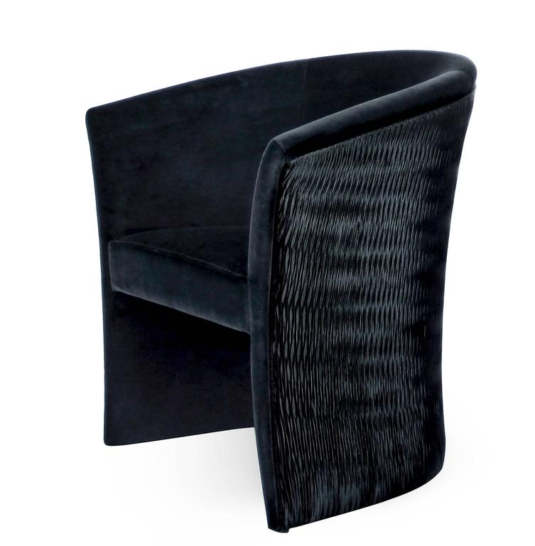 Pair of European Modern Enigma Black Velvet Tub Armchairs by Koket 2