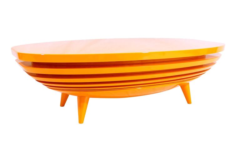 European Modern Elliptical Lacquered Layered Wood Center Coffee Table For Sale At 1stdibs